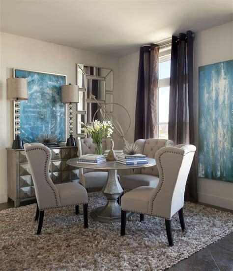 dining room metallic silver pedestal dining table