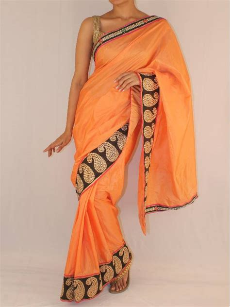 Blouse Satin Leher Pita buy orange silk saree with black and pita work border in kairi pattern