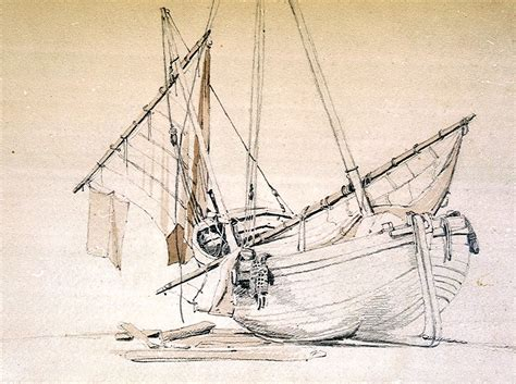 quot beached fishing boat with sail lowered quot a beautiful - How To Draw A Beached Boat