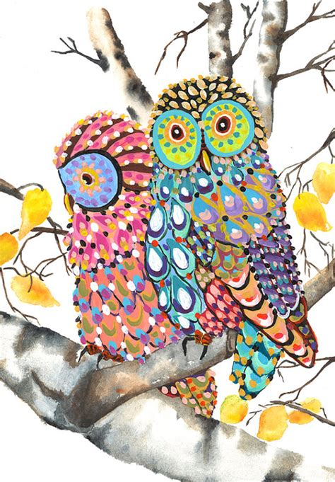 owls on a birch tree print of an original whimsical owl