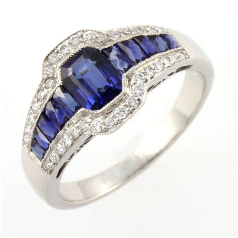 platinum sapphire eye cluster ring from mr