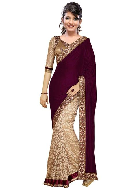 Wijaya Blouse buy magenta and embroidered velvet saree with blouse