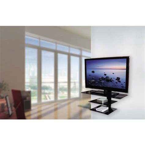 Tv Mount Shelf System by Avf Wall Mounted Glass Shelving System For 50 In Tvs