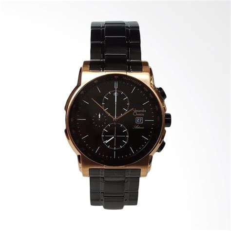 jual alexandre christie asteria chronograph stainless steel jam tangan pria black rosegold