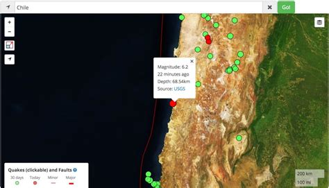 Chile Earthquake Search M 6 2 Chile Earthquake Map Temblor Net