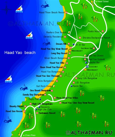 haad tien resort map haad yao hotels on map hotels reservation in koh