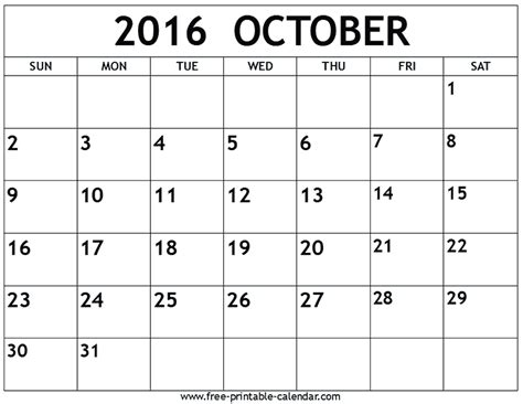 printable calendar for october calendar for october 2016 2016 oct calendar pinterest