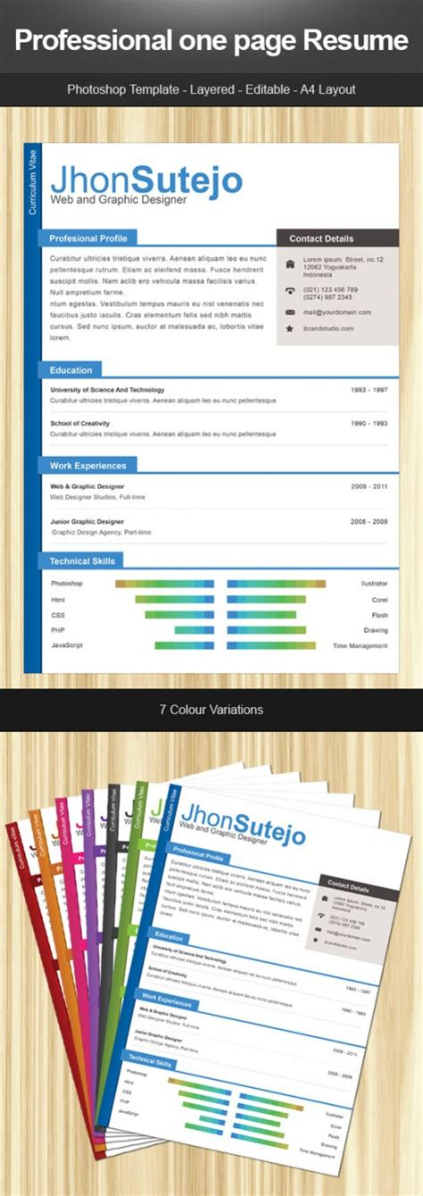 one page professional resume template phuket resume collection and creative design 15 free
