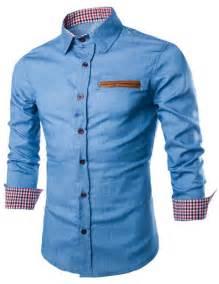 color block pu leather pocket hemming slimming shirt