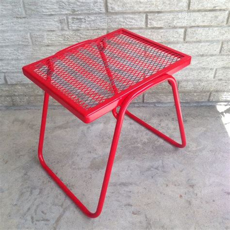 red metal bench small patio table end side red metal petite stand bench