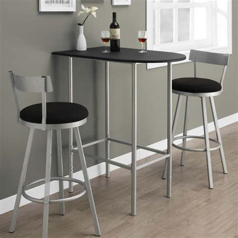 Small Bar Table And Chairs Metal Pub Table In Black And Silver I 2335