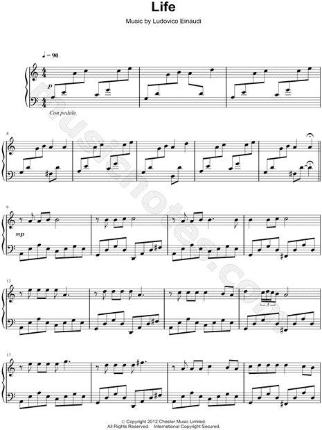 """Ludovico Einaudi """"Life"""" Sheet Music (Piano Solo) in A"""