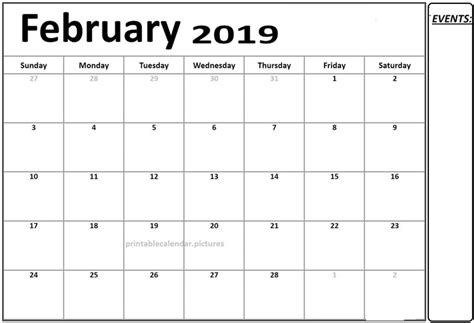 calendar  february printable template   monthly calendar monthly calendar