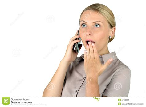 on phone shocked talking on cell phone stock photo image 57170864