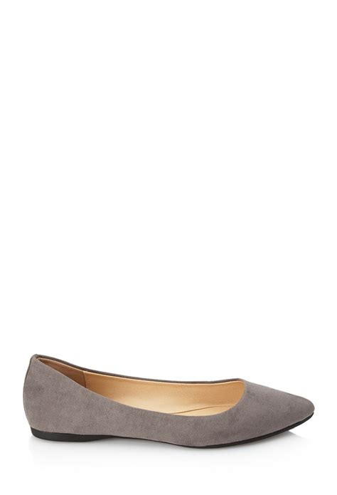 forever 21 flat shoes forever 21 pointed faux suede flats in gray lyst