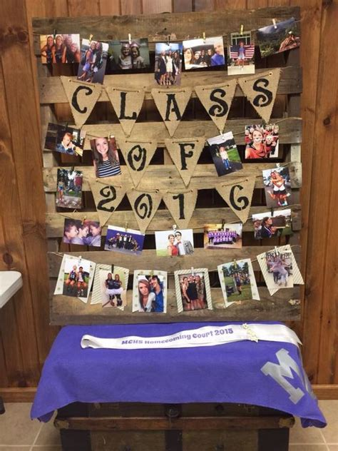 themes for graduation pictures high school graduation photo display with rustic pallet