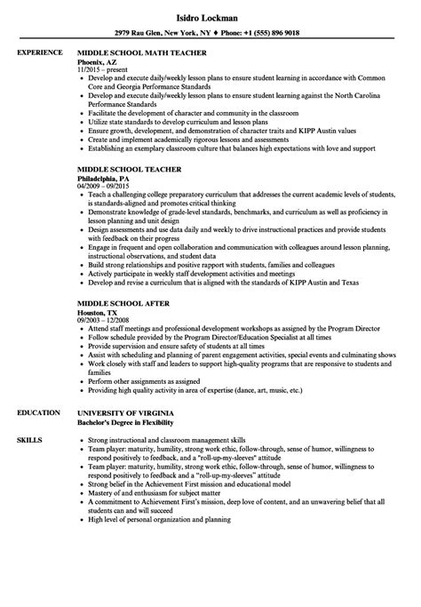 Middle School Student Resume