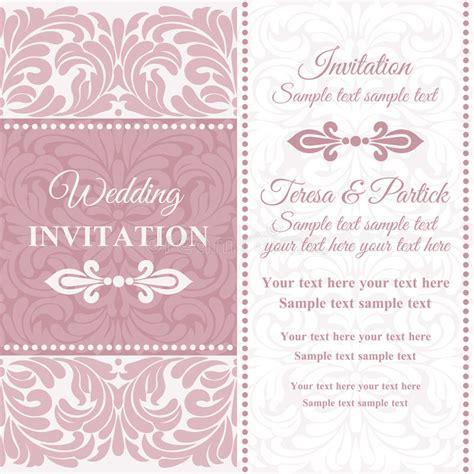 Hochzeitseinladung Rosa by Barocke Hochzeitseinladung Rosa Und Weiss Vektor