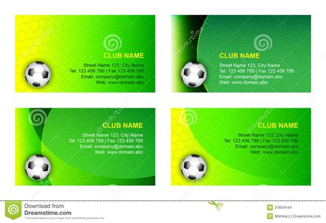 club business cards templates soccer business card template stock vector image 21804444