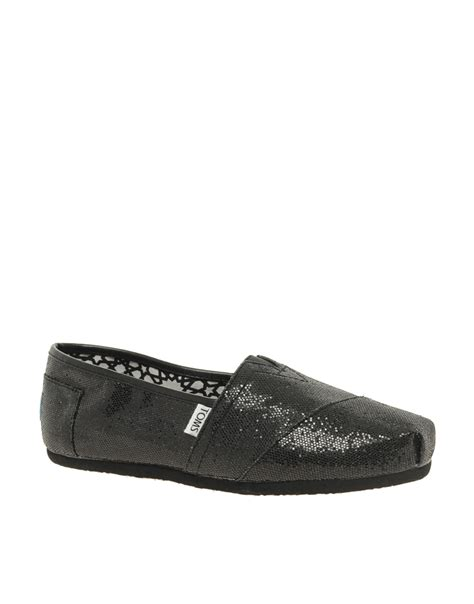 sparkly black flat shoes toms classic black glitter flat shoes in black lyst