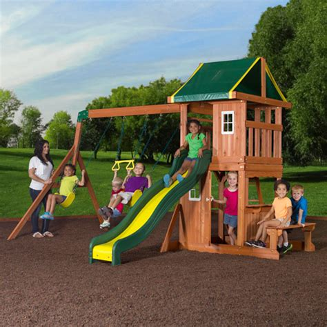 backyard swing sets backyard discovery oakmont cedar wooden swing set walmart com