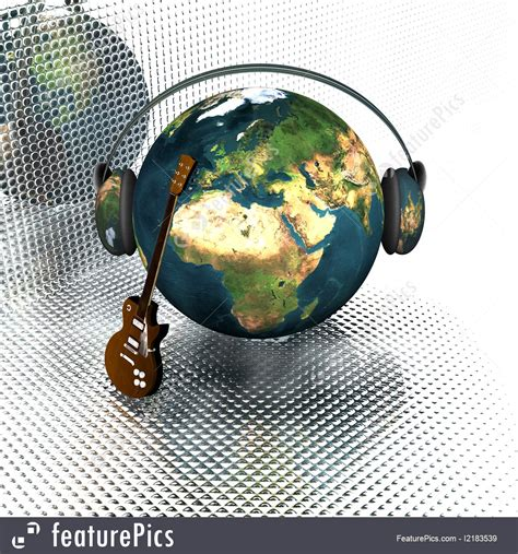 illustration of earth with headphones and guitar