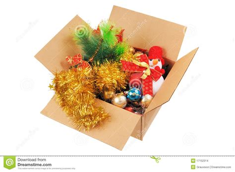 box with christmas decorations stock images image 17152314