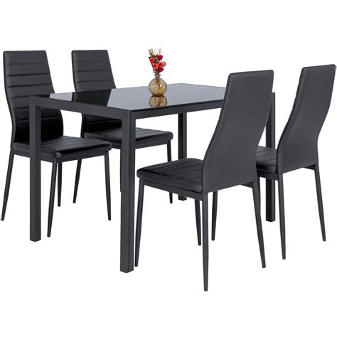 Architektenhäuser Modern 3059 by 5 Kitchen Dining Table Set W Glass Top And 4 Leather