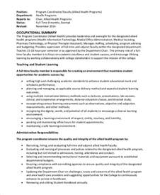 It Coordinator Description by Sle Program Coordinator Description 9 Exles In Pdf Word