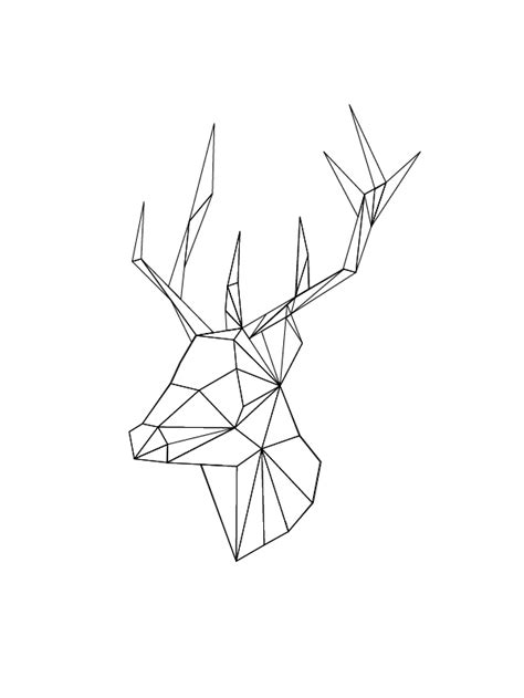 Origami Geometric Figures - geometric deer sticker stag and origami
