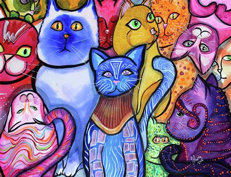 colorful cats colorful cats 9 painting by pavia