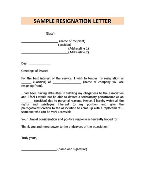 Resignation Letter Notice Personal Reasons Resignation Letter Format Exle Personal Resignation Letter Sles With Reason Header Title