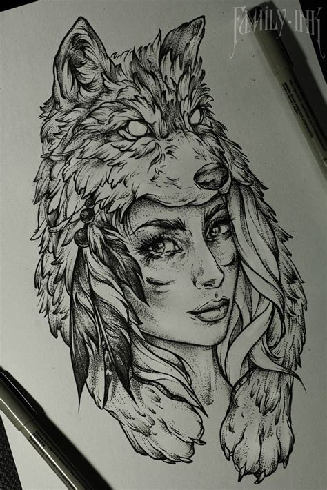 bear and wolf tattoo designs tattoosketch by family ink tattooart