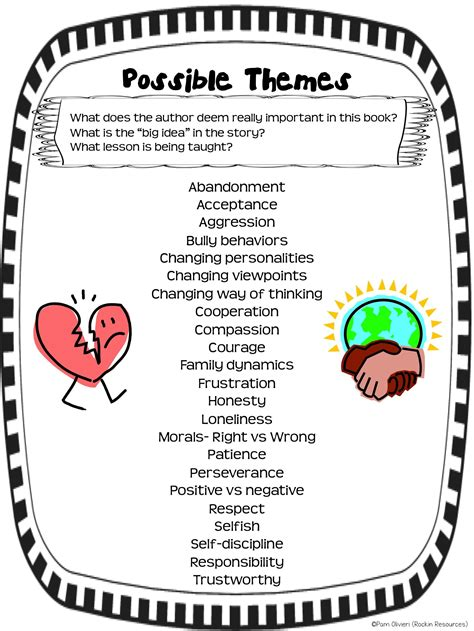 theme exles for books free poster of possible themes from a packet of higher