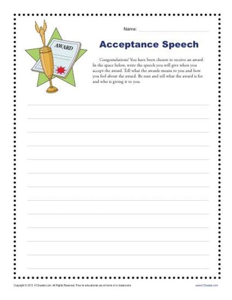 5th Grade Writing Worksheets by Acceptance Speech 4th And 5th Grade Writing Prompt Worksheet