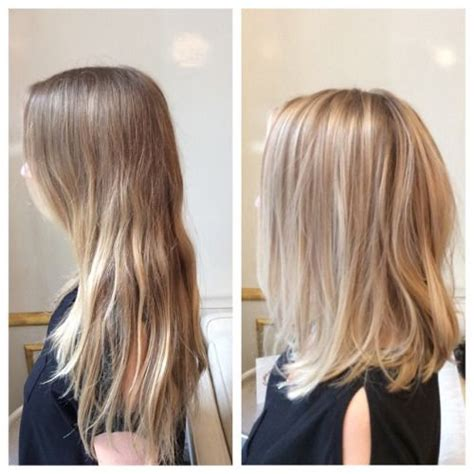 how to ask hairdresser for textured lob before after for this blondie balayage hairpainting