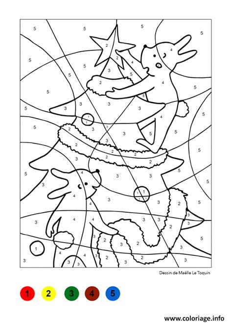 Sapin De Noel Magique by Coloriage Magique Sapin Et Lapins Noel Jecolorie