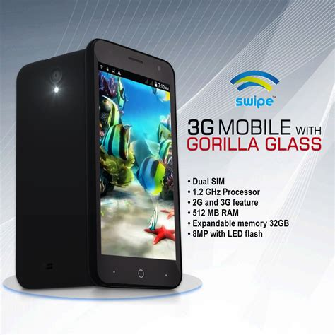 mobile phones with gorilla glass buy swipe 12 7 cm 3g mobile with gorilla glass at