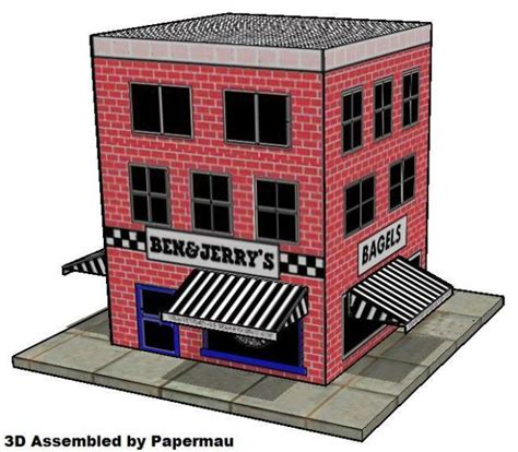Papercraft Cafe - papermau 1996 s shop paper model by ben jerry s