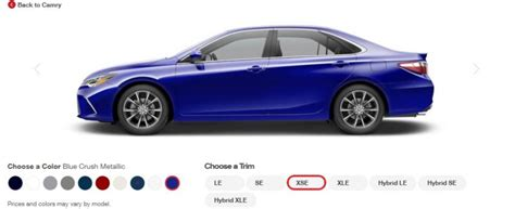 2015 toyota camry colors 2015 toyota camry colors and trims visual buyers guide