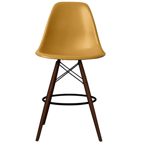 bar stools with gold legs eames inspired gold dsb style bar stool with walnut legs