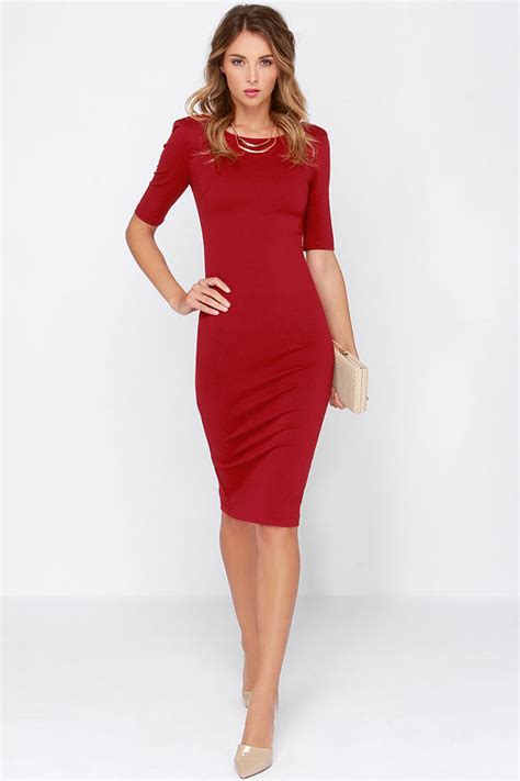 Black Midi Bodycon Dress With Sleeves