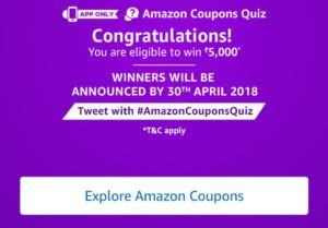 amazon quiz winner answers amazon coupons quiz answer win rs 5000 13 mar