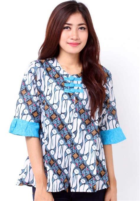 Blouse Atasan Wanita Batik Bl332 jual blouse batik kombinasi embos baju atasan wanita