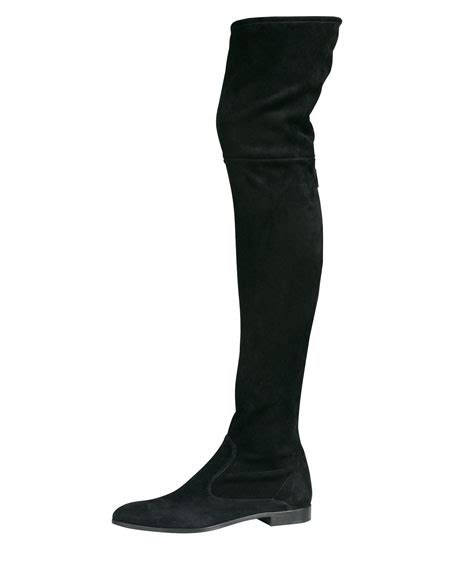 prada suede flat thigh high boot black