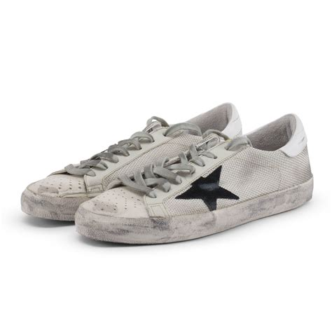 golden goose distressed white superstar sneakers 187 blue