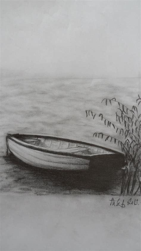 boat charcoal drawing boat at lake balaton my pencil drawings paintings