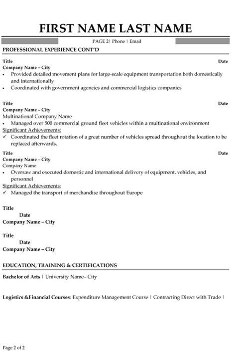 logistics specialist resume sample amp template