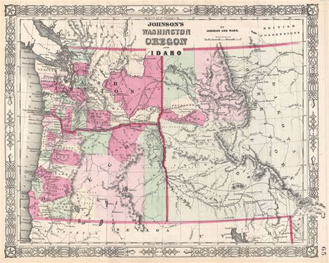 map of oregon washington file 1864 johnson map of washington oregon and idaho