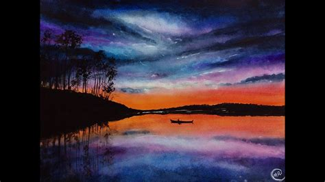 water color sunset watercolor lake sunset painting demonstration